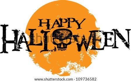 Happy Halloween Skull Text and Moon