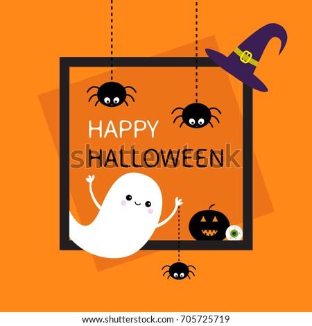 Happy Halloween. Square frame. Flying ghost Three black spider web dash line silhouette. Pumpkin, eyeball, witch hat. Cute cartoon baby character. Flat design. Orange background. Vector illustration