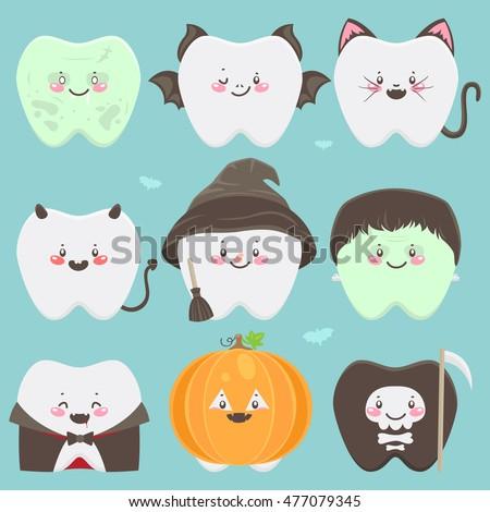 Happy Halloween teeth, set of characters, zombie, bat, cat, devil, witch, green monster, vampire, pumpkin, dead, vector.