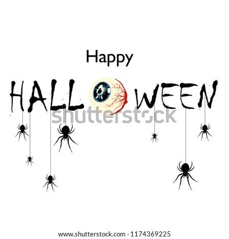 Happy Halloween Text Banner. Halloween party invitation card. Vector illustration. #1174369225