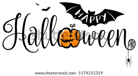 Happy halloween text banner. Halloween vector logo isolated.