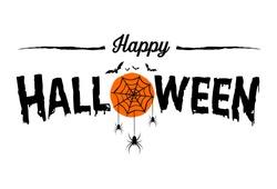 Happy Halloween Text Banner, Vector
