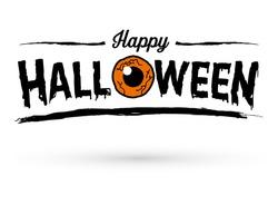 Happy Halloween Text Banner with Orange Eye, Vector