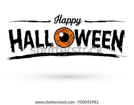 Happy Halloween Text Banner with Orange Eye, Vector