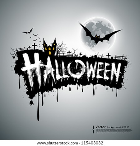 Happy Halloween text design background, vector illustration