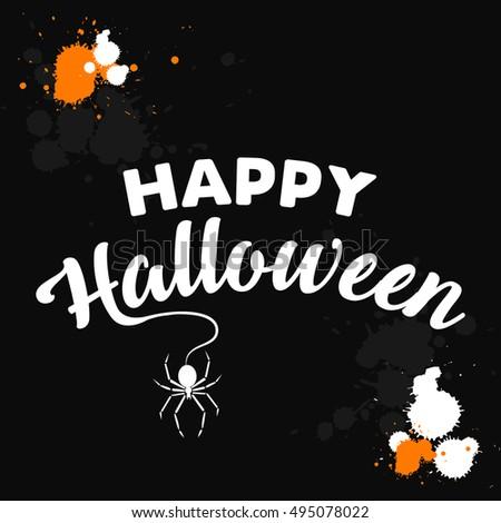 Happy Halloween text design background. Vector illustration Happy Halloween card