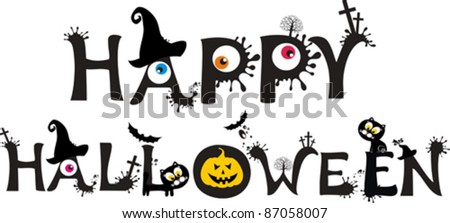 Happy Halloween text  isolated on White background. Vector illustration