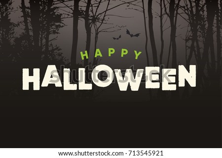 Happy Halloween text logo with night forest background. Editable vector design.