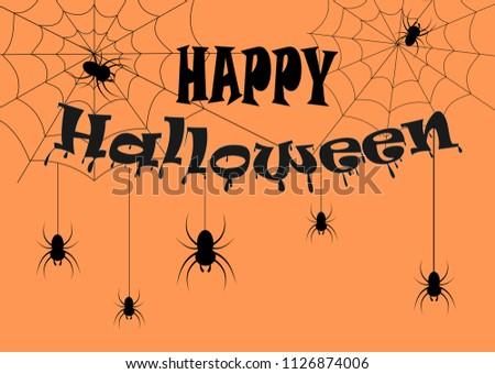 Happy Halloween text set for design.Illustration vector. #1126874006