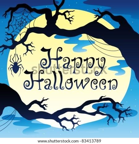happy halloween theme with moon