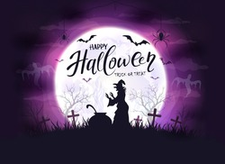 Happy Halloween theme with witch, bats and spiders on purple night background. Holiday lettering on Moon background. Illustration can be used for clothing or children's holiday design, cards, banners