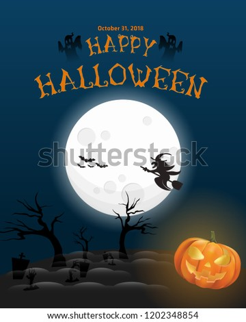 happy halloween themed poster. Text Happy Halloween on black night sky with full Moon and Jack O Lantern. Illustration Stok fotoğraf ©