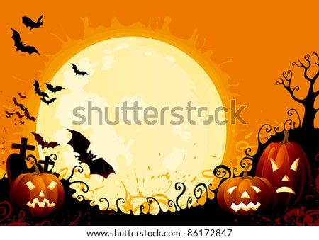 Happy Halloween! Three glowing halloween pumpkins, tree, graveyard, grave stone and many flying  bats on  abstract background with big moon.