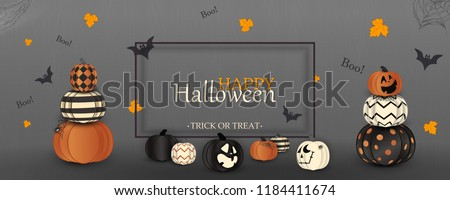 Happy Halloween. Trick or treat. Boo. Holiday concept with ghost orange, white, black halloween pumpkins funny faces, spider web for banner, website, poster, greeting card, party invitation