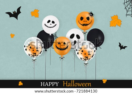 stock-vector-happy-halloween-trick-or-treat-holiday-concept-with-colorful-balloons-falling-leaves-spider