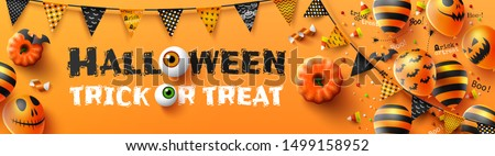 Happy Halloween trick or treat poster with Scary air balloons and Halloween Elements. Website spooky,Background or banner Halloween template.Vector illustration EPS10