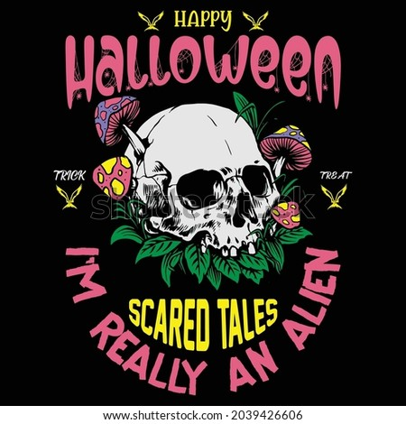 Happy Halloween trick or treat scared tales I' m really an alien Foto stock ©