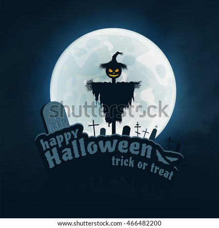 Happy Halloween trick or treat vector blue background. Scarecrow, Moon, Bat and Monument, Halloween Elements. Happy Halloween Dark Wallpaper. Vector Background. Halloween. Halloweens. Halloweens.