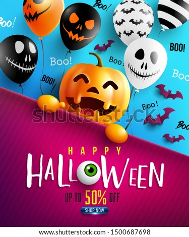 Happy Halloween trick or treat with Happy halloween pumpkin and Scary air balloons.Website spooky,Background or banner Halloween template.Vector illustration EPS10