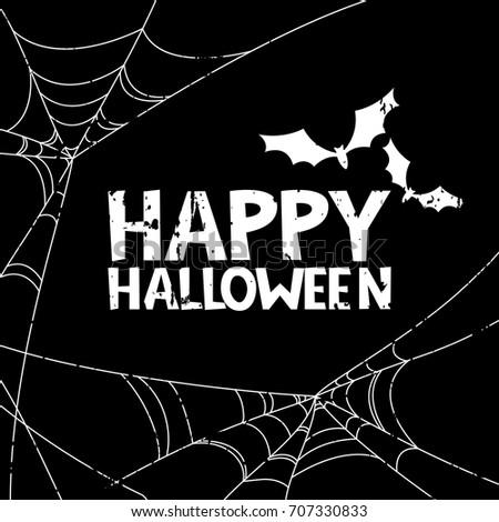 Happy Halloween vector banner, poster design elements. Holiday black and white illustration with removable grunge texture. Doodle letters, bat and spiderweb for greeting card, print or invitation.