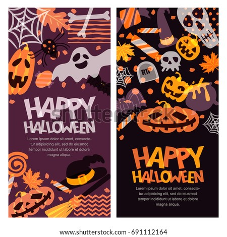 Happy Halloween vector banner set. Hand drawn doodle pumpkin, skull, witch hat, bones, candies, ghost, broom, cauldron and letters. Holiday design elements for greeting card, poster