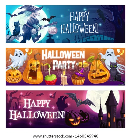 Happy halloween, vector cartoon spooky party symbols. Witch flying on broom over cemetery, bats, cat and moon. Horrible ghosts and pumpkins, caste tower and zombie night, awful feast with dead