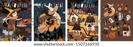 happy halloween  vector cute