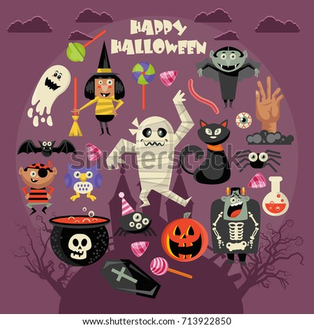 Happy Halloween vector greeting card. Trick or treat. Boo!
