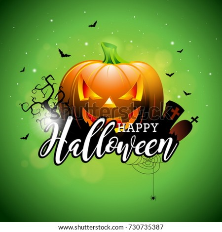 Happy Halloween vector illustration with pumpkin and cemetery on