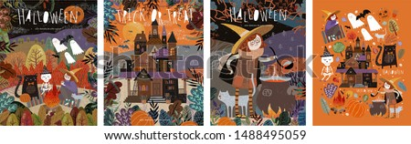 Happy Halloween! Vector illustrations of a picnic with characters: ghosts, a witch and a skeleton; castle in the forest; witch cooking potion and a set of objects. Cute pictures for poster, background