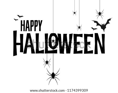 Happy Halloween vector lettering. Holiday calligraphy poster, greeting card, party invitation. Isolated illustration.