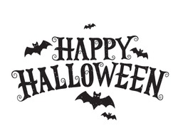 Happy Halloween vector lettering. Holiday lettering for banner. Happy Halloween poster, greeting card, party invitation. Vector illustration.