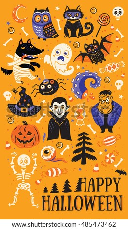 Happy Halloween. Vector set of characters and icons for Halloween in cartoon style. Pumpkin, ghost, bat, candy and owl, cat, wolf, spider, skeleton