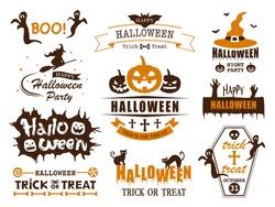 Happy halloween vector vintage label set