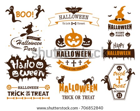 Happy halloween vector vintage label set