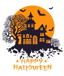 Happy Halloween vintage greeting card, vector illustration for design, invitation, banner, print. Silhouette of halloween house, full moon, trees and bats.