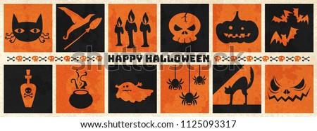 Happy halloween web banner ,Halloween vector symbol object collection. vector halloween illustration, Happy halloween background.