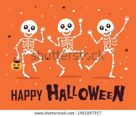Happy Halloween with funny skeleton cartoon character. Halloween festive for banner, poster, greeting card, party invitation.