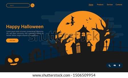 Happy halloween with night scene for landing page. Halloween with witch fly on the sky vector illustration background for presentation. Web Page for halloween. Halloween celebrate template design.