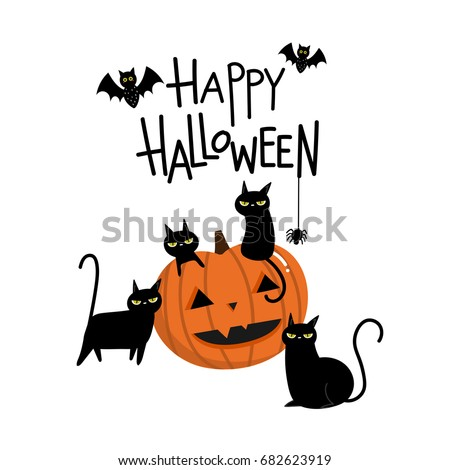 Happy halloween with pumpkin and black cat cartoon character.