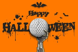 Happy Halloween. Zombie hand is holding a golf ball. Template golf design. Grunge style. Pattern for banner, poster, greeting card, flyer, party invitation. Vector illustration