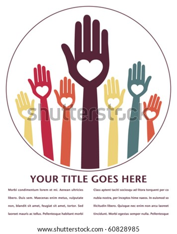 Happy hands design with copy space.