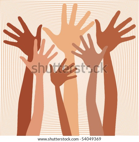 Happy hands in skin tones vector.