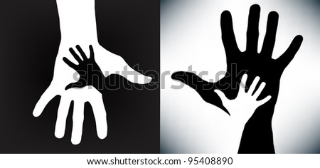 Happy hands - vector version on black and white - conceptual