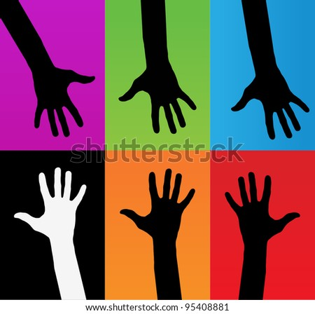 Happy hands - vector version on vibrant colors - stock vector