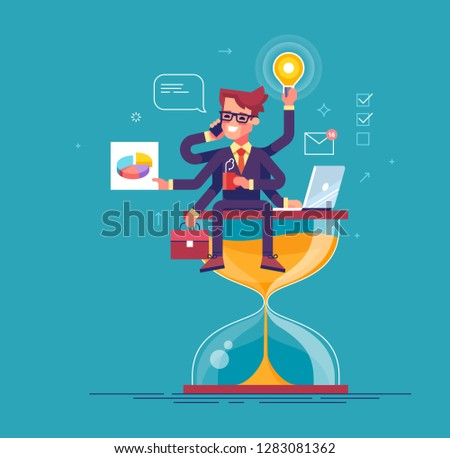 Happy handsome office worker with many hands sitting on an hourglass and doing several actions at the same time. Multitasking, productivity and time management concept. Flat vector illustration.