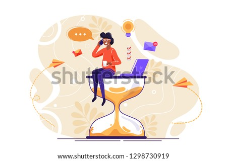 Happy handsome office worker with many hands sitting on an hourglass and doing several actions at the same time. Multitasking, productivity and time management concept. Flat vector illustration