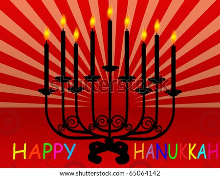 Happy Hanukkah Background With Hanukkah Candles Lit For ...