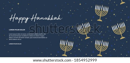 Happy Hanukkah banner . image of Jewish holiday Hanukkah background with golden menorah pattern, traditional candelabra and candles Сток-фото ©