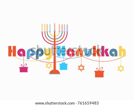 Free happy hanukkah vector download free vector art stock happy hanukkah greeting card candlestick with nine candles garland with hanging gifts vector m4hsunfo